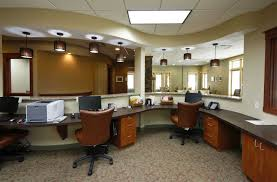 luxurious office interior design with black computer on unusual