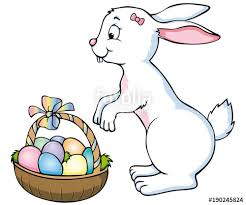 big easter bunny easter bunny girl with a big easter basket stock image and