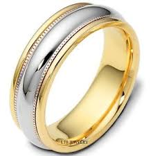 two tone mens wedding bands 14k two tone gold mens wedding bands shiny finish 7mm wedding