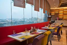 the bright and colourful ambience of square 405 restaurant in