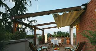 Pergola With Awning by Wall Mounted Pergola Wooden Fabric Sliding Canopy Commercial