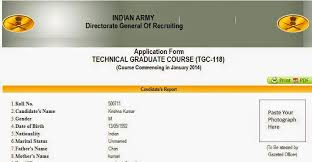 tgc 118 online application of indian army