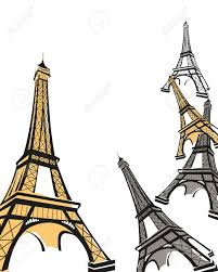 abstract background illustration with eiffel tower sketch royalty