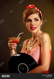 martini woman retro woman music vinyl record pin image u0026 photo bigstock