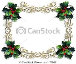 christmas holly border image and illustration composition clip