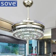 remote control bedroom l sove modern led invisible crystal ceiling fans with lights bedroom