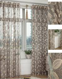 Lace Curtain Sheer Curtain In Gray Color With Beige Leaf Pattern Lace Curtain