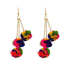 ear rings buy kaizer jewelry pom pom multi colour fabric dangle drop