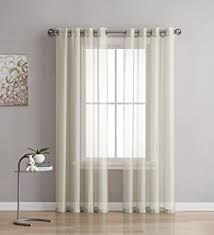 84 Inch Curtains Grommet Semi Sheer Curtains 2 Pieces Total Size