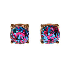 glitter stud earrings always sparkle glitter stud earring in hot pink and blue vintage