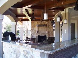 Outdoor Cabinets Kitchen Ravishing Outdoor Kitchen Idea With Wood Ceiling And Fireplace