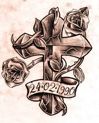 memorial cross and rose tattoo design real photo pictures