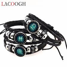 braided leather bracelet with charms images Lacoogh new fashion female handmade braided leather zodiac jpg