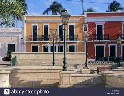 colonial houses in the old town of san juan puerto rico stock