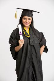 college cap and gown pretty indian girl college graduate wearing cap and gown holding