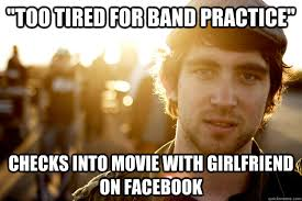 too tired for band practice checks into movie with girlfriend on