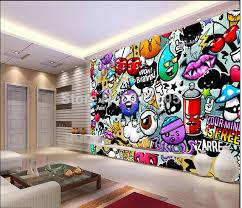 graffiti chambre personnalisé bébé fond d écran coloré graffiti 3d papier peint pour