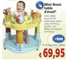 table d activité bébé avec siege colruyt promotion mini bossi table d eveil produit maison
