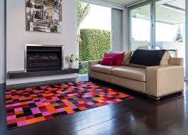 Modern Rugs Sydney Colourful Cowhide Patchwork Rugs Pixel Reds Oranges Modern