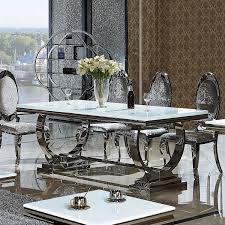 esszimmer tisch esszimmertisch amelie 180 x 90 x 76 cm glasplatte edelstahl
