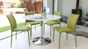 White Gloss Dining Tables And Chairs Round Modern White Gloss Dining Table Stylish Trumpet Pedestal