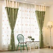 Green Kids Curtains Blue And Purple Floral Print Linen Cotton Blend Curtains For Windows