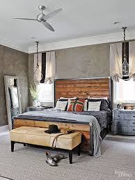 Wood And Wrought Iron Headboards Industrial Edge Handsome Wood Plank Headboard With A Metal Frame