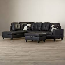 Leather Sofa Beds With Storage Black Faux Leather Sectional Sofa Bed With Left Facing Storage