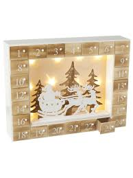 drop down christmas lights heaven sends wooden led pre lit advent calendar traditional