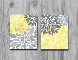yellow gray flower petals burst canvas or print set home decor