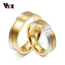 aliexpress buy vnox 2016 new wedding rings for women vnox 1 pair wedding ring set for gold color stainless steel