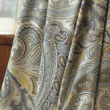 Blue And Gold Curtains White Gray Blue Gold Rayon Paisley Jacquard European Flower