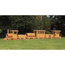 amish made 45 ft long wooden 6 piece train playground set