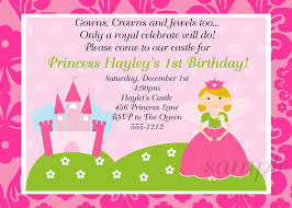 pink princess party invitations printable or printed