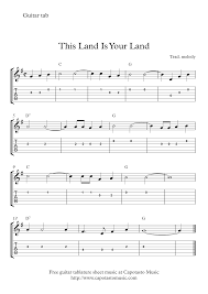 free easy guitar tablature sheet music this land is your land