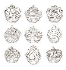 cupcake sketches royalty free vector image vectorstock