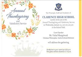 farewell party invitation for teachers clarence high annual thanksgiving u0026 valedictory service