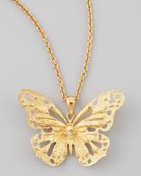 necklace butterfly pendant images Alexander mcqueen butterfly pendant necklace in metallic lyst jpeg