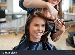 happy young woman getting new haircut stock photo 108265328