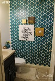 Brilliant Wallpaper In The Bathroom Making A Big Impact In A Small Space With Wall Stenciling