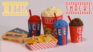 home theater candy display movie theater snacks how to make miniature popcorn icee nachos