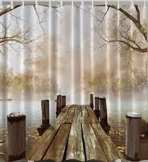 wood dock fall leaves rustic bridge fabric shower curtain boat