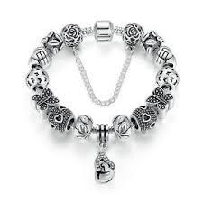 ebay charm bracelet silver images 20cm xmas silver plated charm bracelet with bling crystal flower jpg