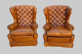 original 1920 u0027s leather wingback chairs bourgeois boheme