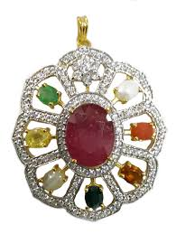 big size necklace images Excellent big sized silver navaratna pendant gleam jewels jpg