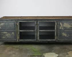 Entertainment Center Credenza Industrial Media Console Vintage Style Credenza Reclaimed