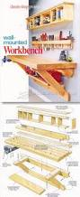 Woodworking Plans Free Standing Shelves by Wall Mounted Workbench Woodsmith Plans Shop Organization