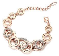 gold bracelet with links images Buy yutii circle links rose gold crystals bracelet for girls and jpg