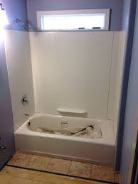 tub surround in and floor going in u20265x7 foot bathroom 8x41