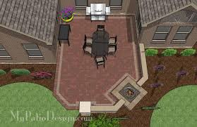 Backyard Brick Patio Design With Grill Station Seating Wall And by Courtyard Paver Patio Design With Pergola U0026 Fireplace Download